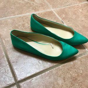 Green satin flats. Size 8. Express Brand, wide fit